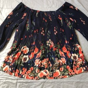 Tribal Jeans flowy floral pleated off shoulder top